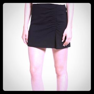 Ruched stretch ponte miniskirt